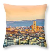 Florence At Sunrise - Tuscany - Italy Throw Pillow