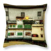 Florence - Boats Under The Ponte Vecchio Sunset - Untextured Throw Pillow