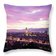 Florence Dusk, Tuscany, Italy Throw Pillow