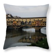 Florence Italy - An Autumn Day At Ponte Vecchio Throw Pillow