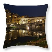 Florence Italy Night Magic - A Glamorous Evening At Ponte Vecchio Throw Pillow