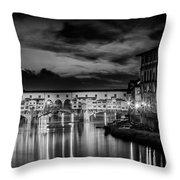 Florence Ponte Vecchio At Sunset Monochrome Throw Pillow