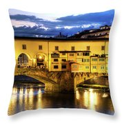 Florence - Ponte Vecchio Sunset From The Oltrarno Throw Pillow