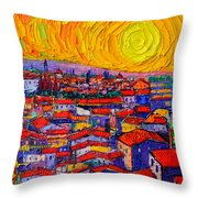 Florence Sunset 10 Modern Impressionist Abstract City Knife Oil Painting Ana Maria Edulescu Throw Pillow