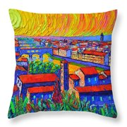 Florence Sunset 4 Modern Impressionist Abstract City Impasto Knife Oil Painting Ana Maria Edulescu Throw Pillow