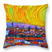 Florence Sunset 5 Modern Impressionist Abstract City Impasto Knife Oil Painting Ana Maria Edulescu Throw Pillow