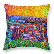 Florence Sunset 7 Modern Impressionist Abstract City Impasto Knife Oil Painting Ana Maria Edulescu Throw Pillow
