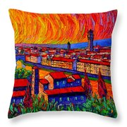 Florence Sunset 9 Modern Impressionist Abstract City Impasto Knife Oil Painting Ana Maria Edulescu Throw Pillow