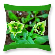 Florescent Green In Stereo Throw Pillow