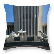 Florida Capitol Dolphin Fountain Throw Pillow