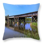 Florida East Coast Railroad Bridge Throw Pillow