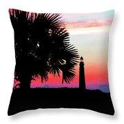 Florida Lighthouse Sunset Silhouette Throw Pillow