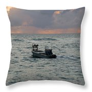 Florida Lobstermen At Dawn Throw Pillow