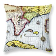 Florida: Map, 1591 Throw Pillow