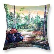 Florida Osceola Turkeys- The Two Kings Throw Pillow