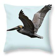 Florida Pelican In Flight Throw Pillow
