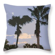 Florida Queen Palm Trees   Throw Pillow