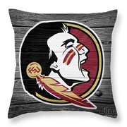 Florida State University Seminoles Logo On Weathered Wood Throw Pillow