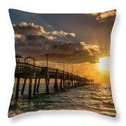 Florida Sunrise At Dania Beach Pier Throw Pillow