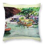 Floting Market Throw Pillow