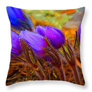 Flourescent Flowers Throw Pillow