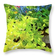 Flower Among Leaves Throw Pillow