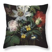 Flower And A Delphinium In A Glass Vase Throw Pillow