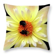 Flower And Bees Throw Pillow