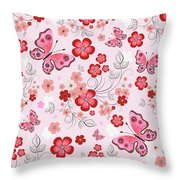 Flower And Butterfly Bj01 Throw Pillow