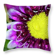 Flower And Droplets Throw Pillow