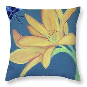 Flower And Insect Throw Pillow