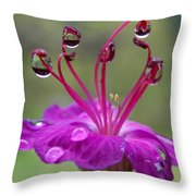 Flower And Raindrops Throw Pillow