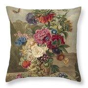 Flower Arrangement, Anthonie Van Den Bos, 1778 - 1838 B Throw Pillow