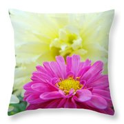 Flower Art Print White Pink Dahlia Floral Canvas Baslee Troutman Throw Pillow