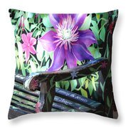 Flower Bench Throw Pillow