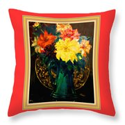 Bouquet For Mrs De Waldt H B With Decorative Ornate Printed Frame. Throw Pillow