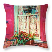 Flower Box  And Pink Shutters Throw Pillow