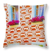 Flower Boxes In Slavonice Throw Pillow