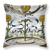 Flower Clock, 1643 Throw Pillow