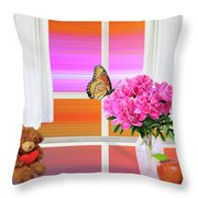 Flower Color Throw Pillow