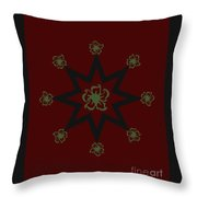 Star Flower - Red Throw Pillow