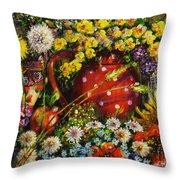 Flower Extravaganza Throw Pillow