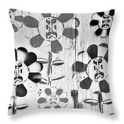 Flower Face B W Throw Pillow