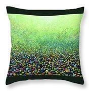 Flower Field Riot Throw Pillow