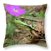 Flower, Frog, Fly Throw Pillow