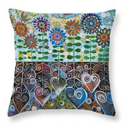 Flower Garden Blues Throw Pillow