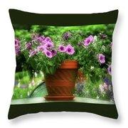 Flower Garden Pot Throw Pillow