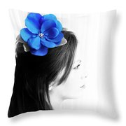 Flower Girl Blue Selective Colour Throw Pillow