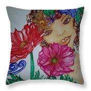 Flower Goddess  Throw Pillow
