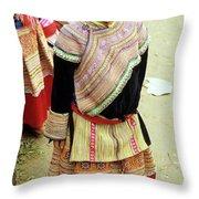 Flower Hmong Girl 04 Throw Pillow